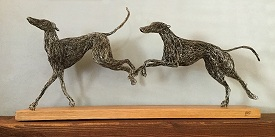 Detailed Greyhounds on an oak base (2 x 30cm)