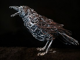 Carrion Crow in galvanised steel