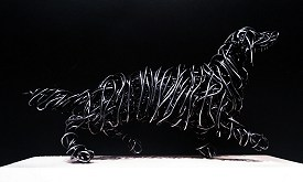 Dachshund in galvanised steel on wooden base, 19cm long