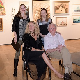 Candice with David Shepherd at the David Shepherd Wildlife Artist of the Year exhibition. Photo by Adele Behles.