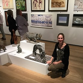 Candice with 'Unnatural Selection' (life sized Fox) at the David Shepherd Wildlife Artist of the Year exhibition.