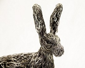 Life sized Hare made from stainless steel wire