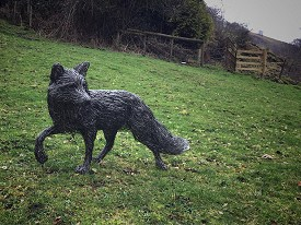 A life sized Fox made with stainless steel wire
