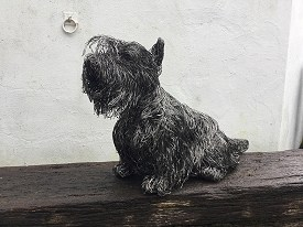 Life sized Scottish Terrier made from stainless steel wire
