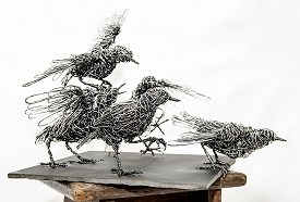 Murmuration - life sized Starlings made from galvanised steel on slate base