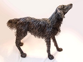 Life sized Flat Coated Retriever made with stainless steel wire