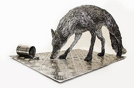 Unnatural Selection - life sized aluminium wire Fox