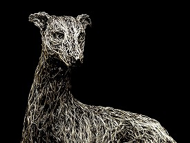 Life sized Whippet made from aluminium wire