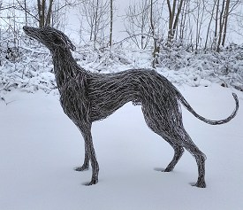 Life sized stainless steel Whippet